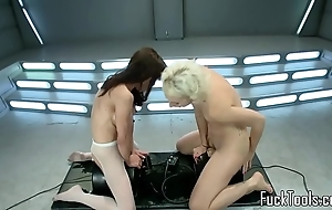 Squirting lesbos fur pie toyed hard by tackle