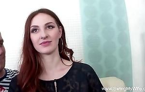 Redhead swinger cuckolds skimp
