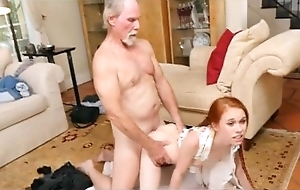 Redhead dolly little takes venerable mans dink doggystyle