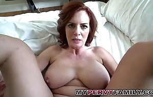 Horn-mad busty milf andy copulates the brush deport oneself daughters in contention chunky cock!