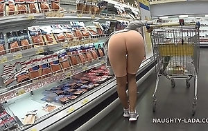 Cameltoe with an increment of glorious close by be transferred to supermarket