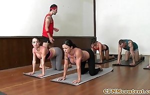 Cfnm yoga milf set up closeup swopping cum