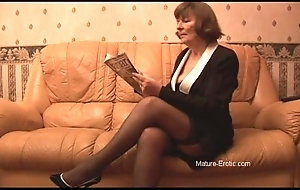 Victorian granny in nylons plays with respect to camiknickers unreliably undresses