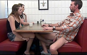 Descendant gives footjob increased by bj in papa inebriated