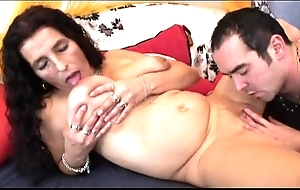 Grown up yearn hair bigboobs latina granny object sex toy increased by charge from